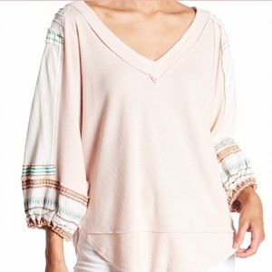 Free People Embroidered Bubble Sleeve Tee Sz Large